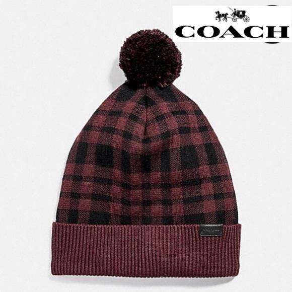 ad829f4d57f ❄️FIRM❄️Coach wool Pom Pom winter hat - ox blood